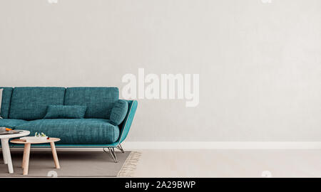 Living room interior wall mock up with teal blue sofa, empty white wall with free space on right, 3D render, 3D illustration - Stock Photo
