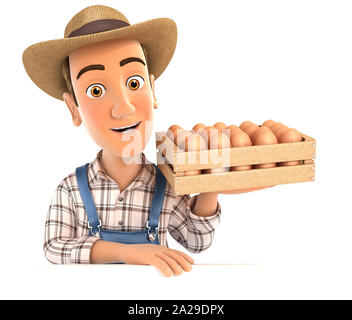 3d farmer holding wooden crate of eggs, illustration with isolated white background - Stock Photo