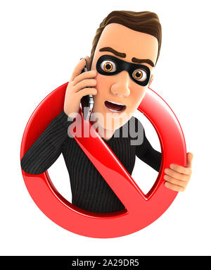 3d thief on phone surrounded by a forbidden sign, illustration with isolated white background - Stock Photo