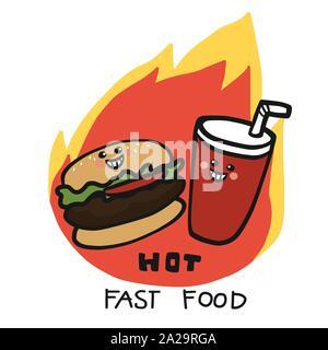 Hot Fast food hamburger and soda drink on fire logo cartoon vector illustration - Stock Photo