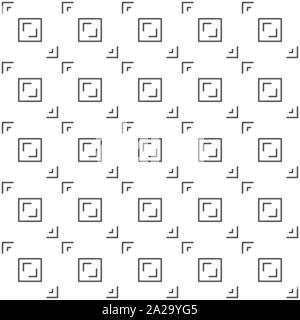 Abstract seamless pattern, black and white outline of aspect pixel perfect. Design geometric texture for print, vector illustration - Stock Photo