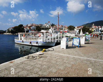 Old harbour and Skiathos town in Greece - Stock Photo