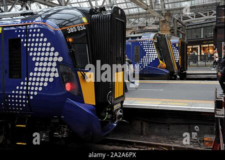 Scotrail Class 380 Desiro electric trains at Glasgow Central Station - Stock Photo