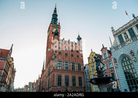 Town Hall and Neptune's Fountain at Dlugi Targ (Long Market) street in Gdansk, Poland - Stock Photo