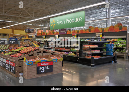 Tigard, Oregon, USA - Sep 16, 2019: The Produce Department in a Walmart Supercenter in Tigard, Oregon. - Stock Photo