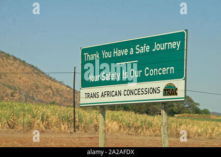 Trans African Congressions and road safety sign on highway near Nelspruit, Mpumalanga, South Africa. - Stock Photo
