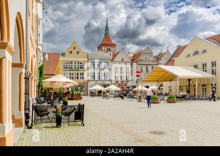 Olsztyn (ger.: Allenstein), Warmian-mazurian province, Poland. The Old Town Marketplace - Stock Photo