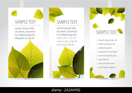 Fresh natural vertical banners with leafs and sample text - Stock Photo