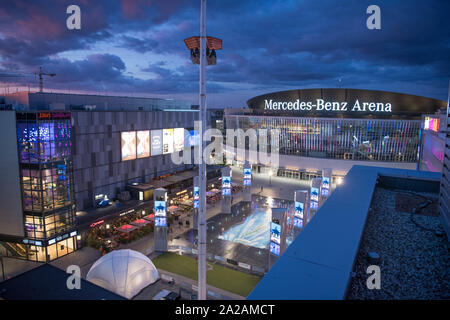 Berlin, Germany. 19th Sep, 2019. View of the Mercedes Square and the Mercedes-Benz Arena from above. Credit: Jörg Carstensen/dpa/Alamy Live News - Stock Photo