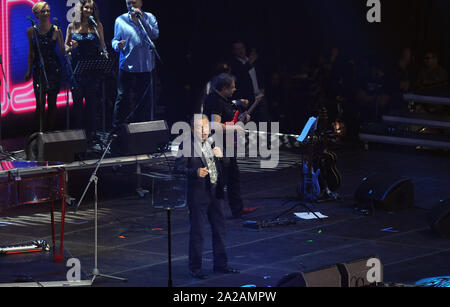 Czech pop singer Karel Gott, who recovered from cancer, performs during the concert Czech Party with Impuls in Prague, Czech Republic, October 15, 201 - Stock Photo