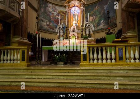 Interior of Chiesa di Santa Maria Immacolata delle Grazie (Church of St. Mary of the Graces), Viale Papa Giovanni XXIII, Lower City (Città Bassa), - Stock Photo