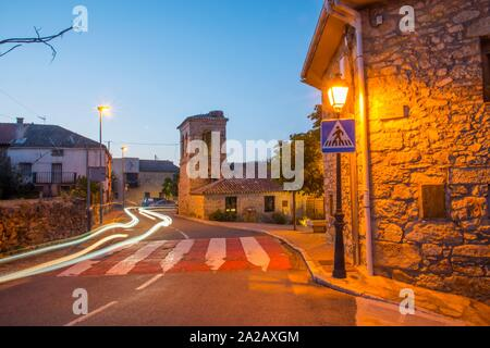 Street, night view. Piñuecar, Madrid province, Spain. - Stock Photo