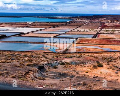 Janubio salinas in Lanzarote. Canary Islands. Spain. Europe. - Stock Photo