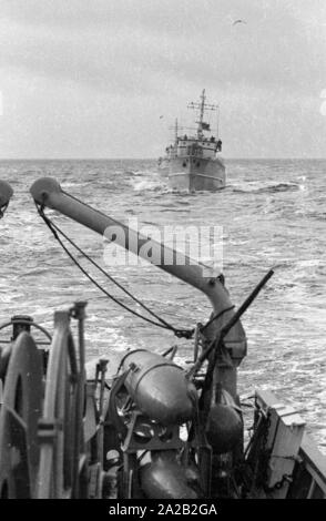 The Lindau class coastal minehunter during an exercise of the  6. Minensuchgeschwader (6th Mine Sweeping Squadron)  in the North Sea. Here, parts of the gear of the minesweeper. - Stock Photo