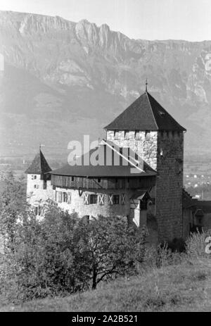 The picture shows the Vaduz Castle (formerly: Hohenliechtenstein) near the city of Vaduz. It is the seat of the Princely House of Liechtenstein. - Stock Photo