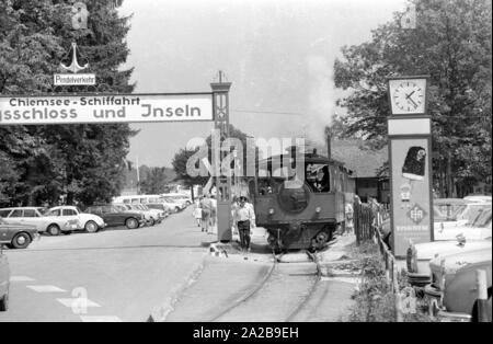 The Chiemsee Railway runs from the station in Prien am Chiemsee to the pier Prien-Stock. - Stock Photo