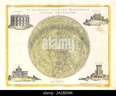 Southern Celestial Planisphere, 1777. A star map of the night sky in the southern hemisphere. Colored engraving, 1777. The corners the image have - Stock Photo