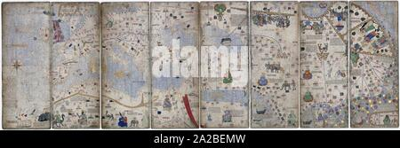 Montage of 8 pages of the Catalan Atlas, 1375. Atlas from the 14th century attributed to Abraham Cresques. Stock Photo