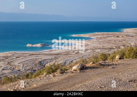 Dead Sea shore seen from a Highway 65 in Jordan. - Stock Photo