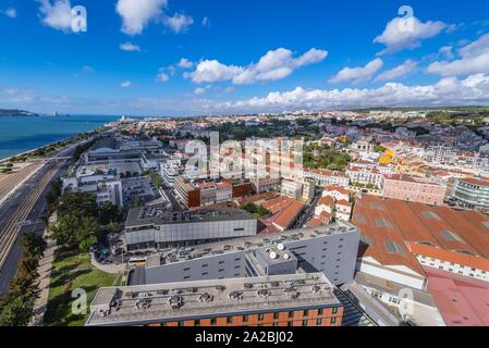 Aerial view from Pilar 7 Bridge Experience interactive centre in Alcantara district of Lisbon city, Portugal. - Stock Photo