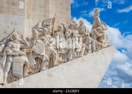 Padrao dos Descobrimentos - Monument of the Discoveries on the northern bank of the Tagus River estuary in Lisbon, Portugal. - Stock Photo
