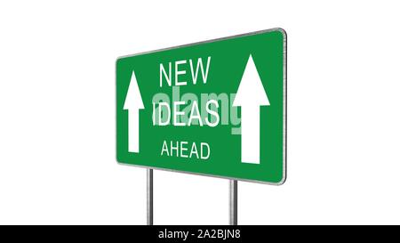 New Ideas Ahead Green Road Sign Isolated On White Background. Business Concept 3D Rendering. - Stock Photo