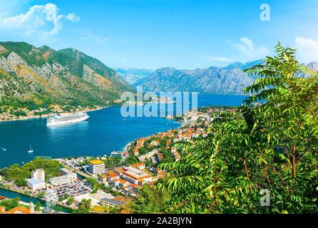 Kotor Bay. Top view at bay Kotor, Montenegro. - Stock Photo