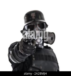 Futuristic nazi soldier gas mask and steel helmet with luger pistol handgun isolated on white studio shot. - Stock Photo