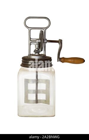 Butter Churn Isolated on White Background. Vintage Kitchen Appliance. - Stock Photo