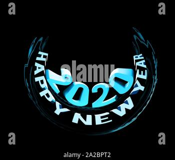 Congratulations on the New Year 2020. Rounded 3D cartoon funny text. Illustration on black background. - Stock Photo
