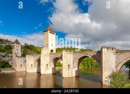 Pont Valentre across the Lot River in Cahors south west France. - Stock Photo