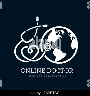 Sign in the form of a stethoscope in the shape of the heart and globe. Can be used as a logo for online medicine, telemedicine or earth day. Vector - Stock Photo