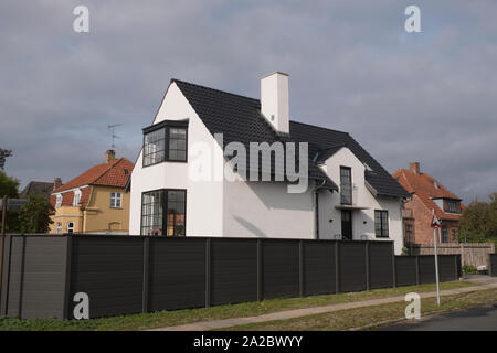 Typical house in the district of Kobenhavn  in the city of Copenhagen on an overcast autumn day, Denmark - Stock Photo