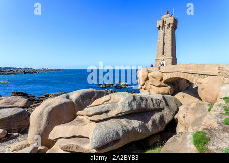 France, Cotes d'Armor, Cote de granit rose (Pink Granite Coast), Perros Guirec, Ploumanac'h, Ploumanac'h or Mean Ruz lighthouse on the coastal path GR - Stock Photo