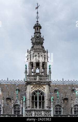 Rooftop with architectural details of the Grand Place and Maison du Roi, one of European finest historic squares and a must-see sight of Bruxelles in - Stock Photo
