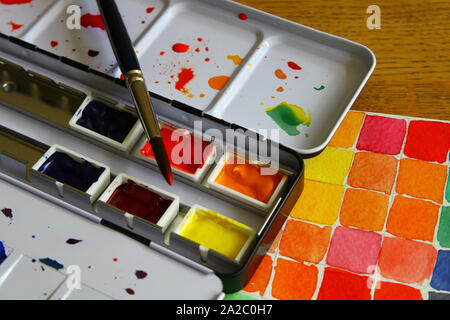 Watercolor pallet and a color mixing study - Stock Photo