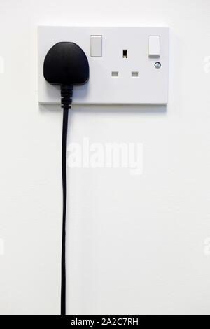 British wall double plug socket - Stock Photo