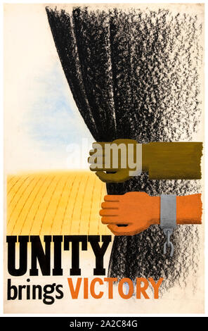 British, WW2, Unity of Strength poster, Inter-allied co-operation, Unity brings victory, (arm and hand, pulling aside dark curtain), 1939-1946 - Stock Photo
