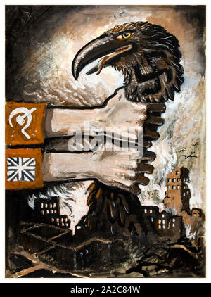 British, WW2, Unity of Strength poster, Inter-allied co-operation, British and Soviet arms grasping neck of predatory Nazi bird arising from the ruins of bombed town, 1939-1946 - Stock Photo