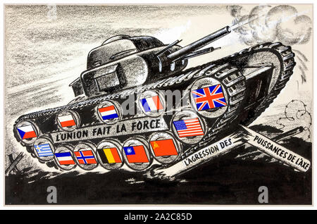 British, WW2, Unity of Strength poster, Inter-allied co-operation, Tank with allied flags on track driving wheels, 1939-1946 - Stock Photo