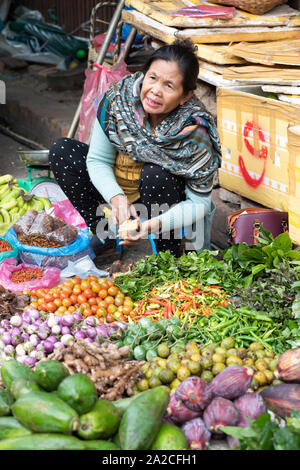 Morning market with stalls selling fresh produce, Luang Prabang, Luang Prabang province, Northern Laos, Laos, Southeast Asia - Stock Photo
