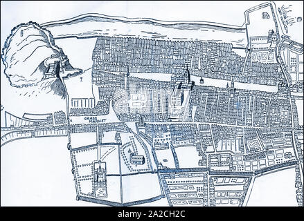 An old map of the city of Edinburgh, (The'Athens of the North'),Scotland; showing the Grass Market, castle and city walls - Stock Photo