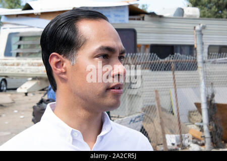 Democratic Presidential Candidate Julián Castro speaks at an Oakland homeless encampment on Sept. 25. - Stock Photo
