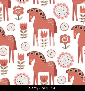 Christmas Scandinavian seamless pattern with red ornamental horses, apples and flowers. Nordic, Swedish winter design for textile, gift wrapping paper - Stock Photo