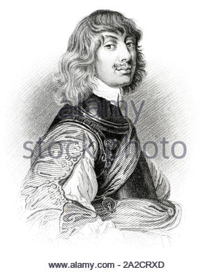 Algernon Percy portrait, 10th Earl of Northumberland, 1602 – 1668, was an English military leader during the English Civil War, vintage illustration from 1850 - Stock Photo