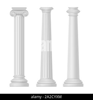 Ionic and tuscan, greek and egypt, rome column - Stock Photo