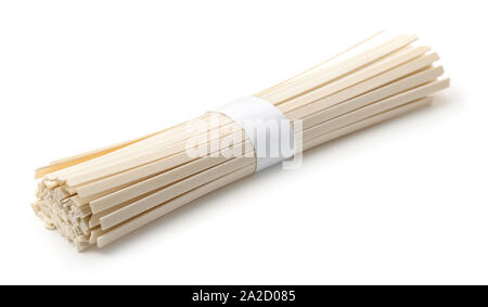 Bunch of raw udon noodles isolated on white - Stock Photo