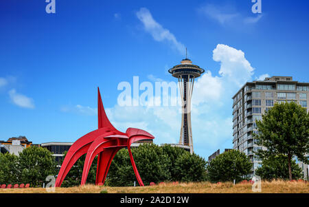 SEATTLE, WASHINGTON - July 4, 2019: Logging was Seattle's first major industry, but this has long been replaced by shipping, tourism, technology, and - Stock Photo