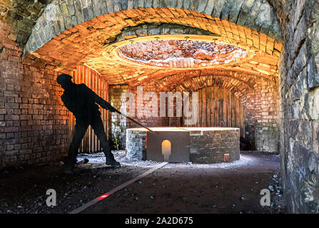 Furnace simulation in museum display, Blaenavon ironworks, Wales, UK - Stock Photo