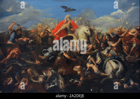 Battle of Arbelas or Battle of Gaugamela (331 BC). Combat between Alexander the Great and the Persian King Darius III. Painting by Jose del Castillo (1737-1793). San Fernando Royal Academy of Fine Arts. Madrid. Spain. - Stock Photo